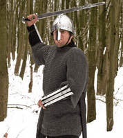 Chain Mail Haubergeon, Mid Sleeves, Flat Ring Wedge Rivets all Riveted (FRW)